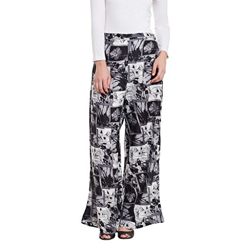 BITTERLIME Womens Rayon Printed Palazzo (BLMD11632L, Black, Large)
