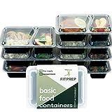 FITPREP® 7er Pack 2-Fach Meal Prep Container Stapelbar, Wiederverwendbar, Spülmaschinenfest bei 55°- inkl Rezeptheft