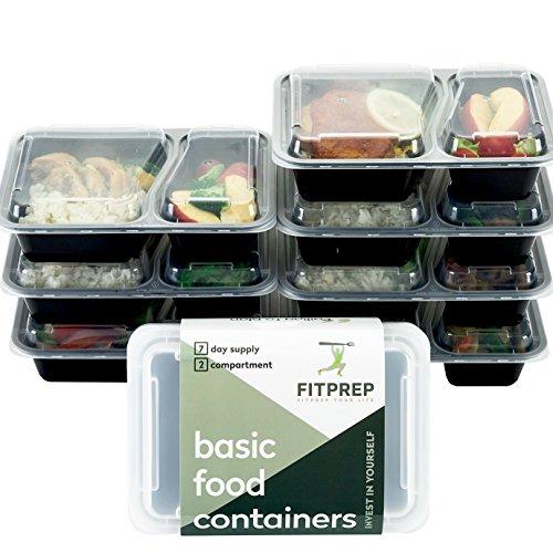 [7er Pack] Original FITPREP® 2-Fach Meal Prep Container | Modell 2017 | Stapelbar, Wiederverwendbar, Spülmaschinenfest, Mikrowellen-, Gefrierschrankgeeignet | neuer, verstärkter Deckel | Bento Box | Lunchbox