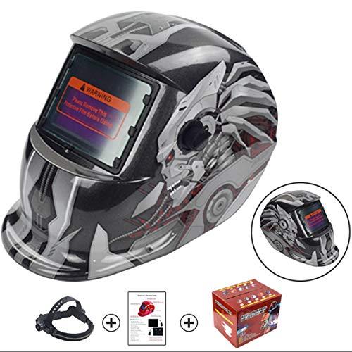 XWQXX Solarbetriebene Auto Verdunkelung Elektrische Schweißmaske Helm Schweißer Kappe Objektiv Für Schweißgerät Plasmaschneider,Silver-OneSize