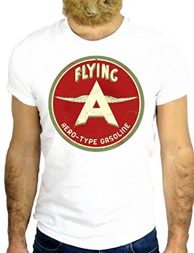 T SHIRT JODE z2215 FLYING MOTOR OIL GARAGE NICE VINTAGE USA AMERICA VINTAGE GGG24 BIANCA - WHITE