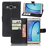 Qiaogle Telefono Case - Custodia in Pelle PU Basamento Custodia Protettiva Cover per Samsung Galaxy ON5 / ON5 PRO/SM-G5500 (5.0 Pollici) - FC02 / Nero Stile di Affari di Modo