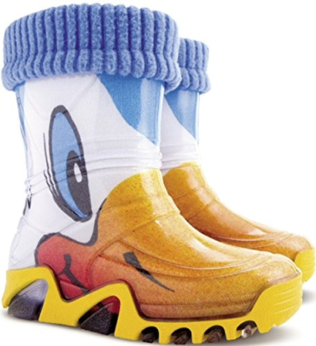 Girls Kids Fleece-Lined Wellington Boots Wellies Yellow Duck Ducklings New
