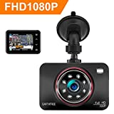 EARTHTREE Dashcam, Autokamera Full HD 1080 P 2.7' LCD 170 Grad Autokamera DVR mit Super Infrarot...