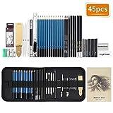 TOPERSUN sketching set 45 matite da disegno strumenti da disegno matite carboncine asta di grafite custodia con cerniera adatto a stalisti bambini o amatori di disegno