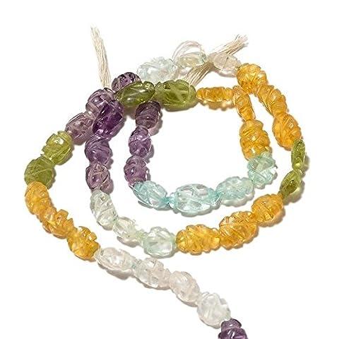 sculpté à la main, perles, améthyste, perles, perles de citrine, topaze bleue Cristal, perles, pierre précieuse à découper, 11x 6mm, 35,6cm Strand,