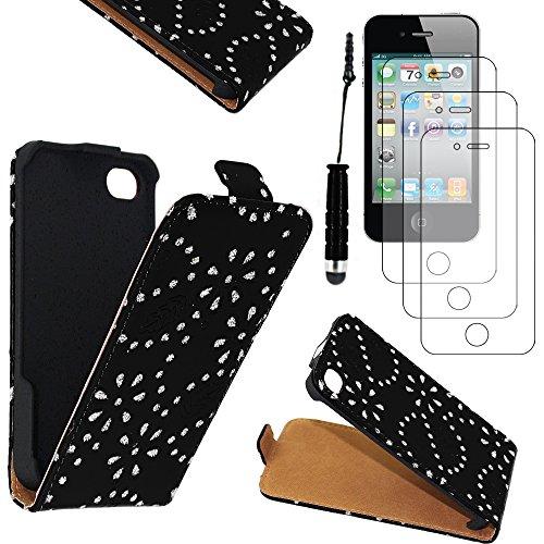 ebestStar - pour Apple iPhone 4S, 4 - Etui Rabat en PU Cuir Motif Strass + Mini Stylet tactile + 3 Films protection écran, Couleur Rose [Dimensions PRECISES de votre appareil : 115.2 x 58.6 x 9.3 mm,  Noir