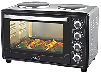 albaline 30 liter backofen mit 2 kochplatten umluft kleink che miniek che pizzaofen amazon. Black Bedroom Furniture Sets. Home Design Ideas