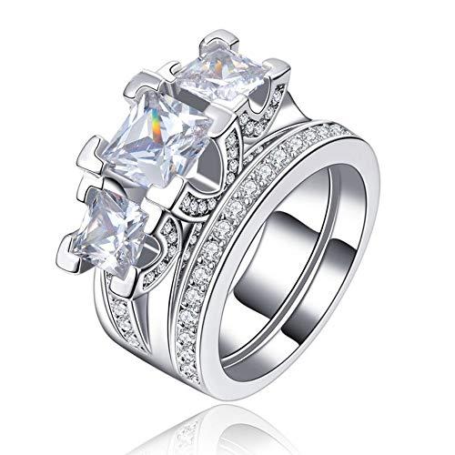 SSLL Ring damen Ehering Sets Weiß Gold Farbe Für Frauen Party AAA Zirkon Schmuckgröße 6 7 8,6 (Ehering-sets Damen)