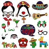 Amosfun Fiesta Photo Booth Puntelli Mayo Cinco Photo Booth Puntelli Forniture per Feste messicani Puntelli Carnevale messicani per Matrimonio Bomboniere per Feste Compleanno, 20 pz