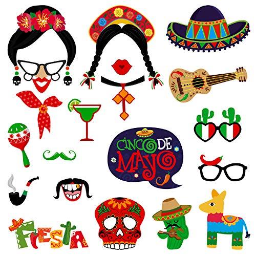BESTOYARD 20 STÜCKE Mexikanische Fiesta Foto Booth Requisiten Cinco De Mayo Festival Prop für Cinco De Mayo Party Hochzeit Festival Karneval Party Supplies