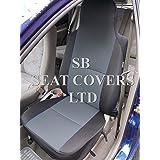 Para adaptarse a un Nissan NP300Navara, fundas para asiento delantero, color gris con de madera de ébano con ribetes azules