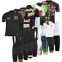 BurningBikewear Uglyfrog Hombres Maillots de Bicicleta Jersey de Manga Corta + Pantalones Cortos Acolchados Ropa de Ciclismo Respirable Secado Rápido Cómodo DXMZ08