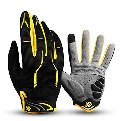 Lkjcz guanti full finger bike unisex touch screen outdoor guanti sportivi antiurto, guanti anti-scivolo per ciclismo, equitazione, sci, pesca, escursionismo, arrampicata,yellow,l