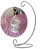 Blumenvase Eisen Hängeständer 2 Stück Hochzeit Kerzenhalter Kerzenhalter Glas Kugelständer 22,9 cm, weiß, Free Size