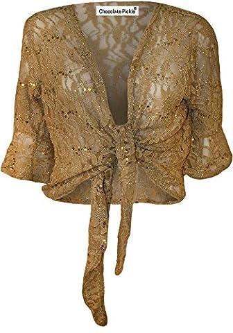 New Ladies Plus Size Lace Tie Bolero Top Sequins Flared 3/4 Sleeve Shrug 12-26 (12-14, Gold)