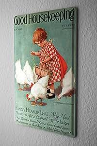 Plaque Émaillée La Décoration Murale Des Enfants petite fille nourrissant les poules Publicité Signes En Métal 20X30 cm