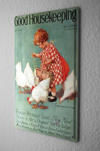Blechschild Kinderzimmer Wand Deko kleines Mädchen füttert Hühner Metallschild 20X30 cm