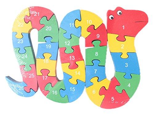 Smile YKK Baby Spielzeug 3D-Puzzles Holzbaukasten Bauklötze Holzpuzzle Schlange