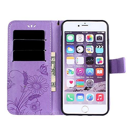Custodia per iPhone 7 Plus Cover Pelle,SKYXD Colorata Fiore Formica Disegni 3D Morbida Flip Libro PU Pelle Portafoglio Custodia Case per iPhone 7 Plus Guscio Protettivo Coperture Antiurto 360 Protezio Porpora