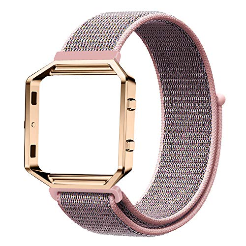 Fintie Armband mit Rahmen kompatibel für Fitbit Blaze - Premium Nylon atmungsaktive Ersatzarmband mit Metallrahmen Gehäuse für Fitbit Blaze Smart Fitness Watch, Nylon Roségold
