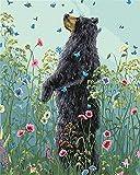 PandaCrafts Malen Nach Zahlen Für Erwachsene,DIY Acrylbild Nach Zahlen Kit Für Erwachsene Kinder, Bär Mit BlumeMuster 16 X 20 Zoll Rahmenlos