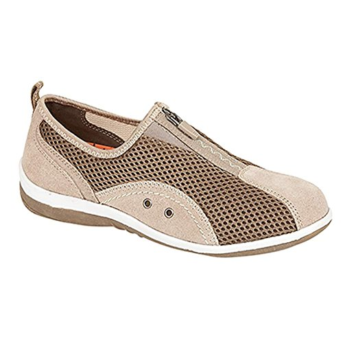 Boulevard ,  Damen Sneaker Low-Tops Taupe Textile Mesh/Leather