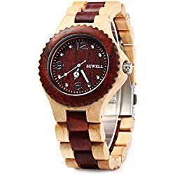 GBlife BEWELL ZS W038A Natural Wooden Unisex Quartz Watch with Luminous Hands