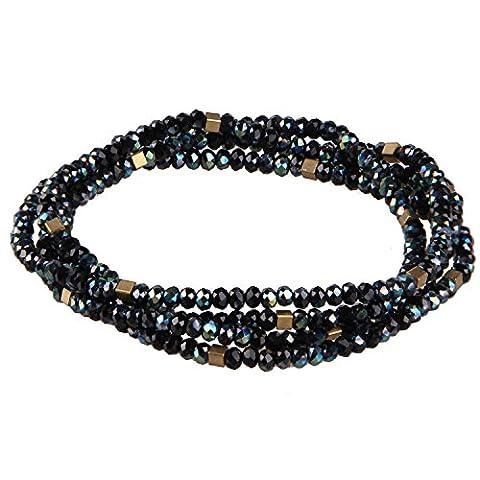 KELITCH Unique Strand Cristal Perles Longue Chaîne Collier - Noir