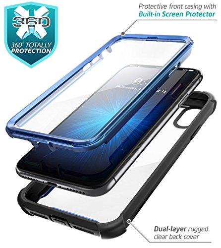 iPhone X Hülle, i-Blason [Ares] Schutzhülle Ganzkörper Rugged Schale Case Transparent Back Cover mit eingebautem Displayschutzfolie für Apple iPhone X / iPhone 10 2017, Schwarz Schwarz/Blau