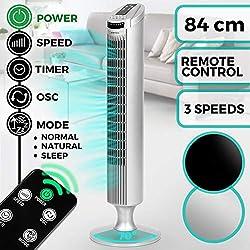Ventilateur Colonne Oscillant | 45 W, avec Télécommande, Minuteur jusqu'à 7.5 h, 3 Vitesses, Oscillation Activable à 70° et Couleur au Choix | Ventilateur sur Pied Silencieux Tour d'Air (Argenté)