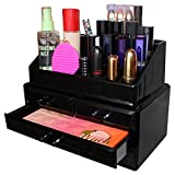 Présentoir à Cosmétiques En Plastique Acrylique Noir Tour de 11 Compartiments par Kurtzy - Solution Rangement pour Maquillage, Bijoux, Accessoires - Nettoyage Facile - Meuble Professionnel