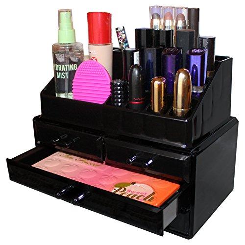Schrank Schmuck Box Truhe (Schwarzer Acryl Make-up Aufbewahrungs-Organizer Ausstellungs-Turm mit 17 Abteilungen von Kurtzy - Aufbewahrungslösungen für Make-up, Lidschatten, Lippenstift, Schmuck und Kleine Artikel)