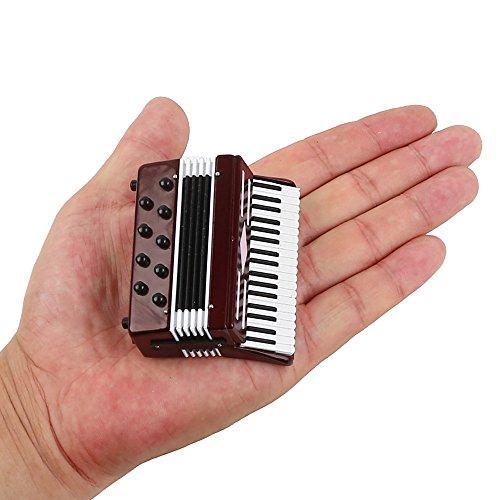 Seawoo Miniatur Akkordeon mit Fall Mini Musikinstrument Replica Sammlerstück Miniatur Puppenhaus Modell Home Dekoration 2.76