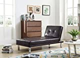 FoxHunter Modern Luxury Chaise Longue Single Sofa Bed 1 Seater Couch Small Guest Sleeper Convertible Chair Faux Leather Living Room Furniture PSB03 Brown