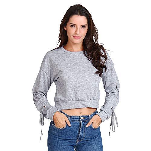 OSYARD Damen Einfarbiges Sweatshirt Langarm, Frauen LäSsige SchnüRsenkel Lange ÄRmel Pullover Top Solid Sweatshirt Tops Shirt Bluse (XL, Grau)