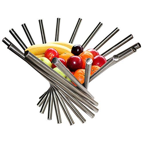 Belle Vous Frutero - Frutero Plegable de Acero Inoxidable - 38 x 35cm Fruteros Modernos - fruteros Anti-Oxido para Mesa y Cocina