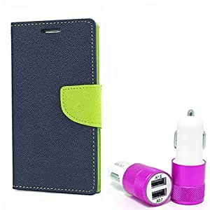 Aart Fancy Diary Card Wallet Flip Case Back Cover For Mircomax Q345 - (Blue) + Dual ports USB car Charger With Ultra Power Technolgy by Aart Store.
