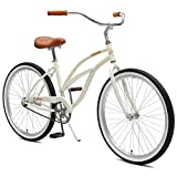 Critical Cycles Damen Chatham Women's Single Speed Beach Cruiser, Eggshell, One Size