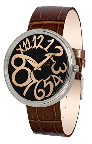 Moog Paris Ronde Art-Deco Women's Watch with Black & Rose Gold Dial, Brown Strap in Genuine Leather - M41671-E12