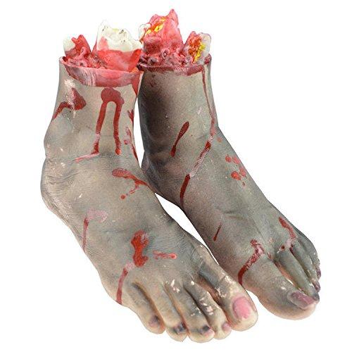 KZKR Halloween Blutige Gebrochene Füße Horror Requisiten Realistische Terroristen Gefälschte Menschliches Blut Körperteile Spukhaus Party Cosplay Dekor Maskerade Dekoration Praktische Witz (Halloween Körperteile Gefälschte)