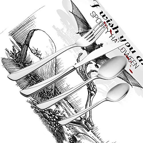 30-teiliges Besteckset, Halloween-Zwiebeln Toter Schädel Zombie Aus dem Grab und Fledermaus Handgezeichneter Stil Gruseliges Bild Geschirr Besteckset aus Edelstahl für 6 Personen Einschließlich K