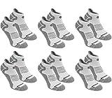 BRUBAKER Chaussettes de sport - Lot de 6 Paires - Talon renforcé et Languette douce - Gris / Blanc avec logo noir - EU 35-38