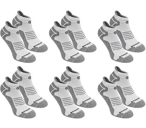 6er Pack BRUBAKER Unisex Sneaker Sportsocken grau/weiß mit Logo in schwarz 39-42