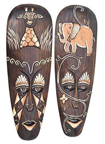 Interlifestyle 2 Máscaras de Madera en África Buscar con Elefante y Jirafas Motivo 50cm