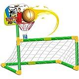 deAO Set de Deportes 2en1 - Futbol y Baloncesto Infantil - Portería, Cesta y Balones Incluidos
