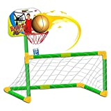 deAO Giochi per Lo Sport 2in1 Basketball And Football Set per Bambini - Obiettivo di Calcio, Basket e Palline Incluse