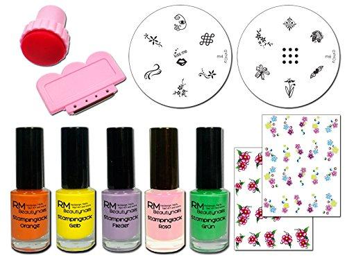 RM beautynails Primavera esmaltes Set con 5esmaltes lacken Konad M4-Plantilla + M6y 2pegatinas