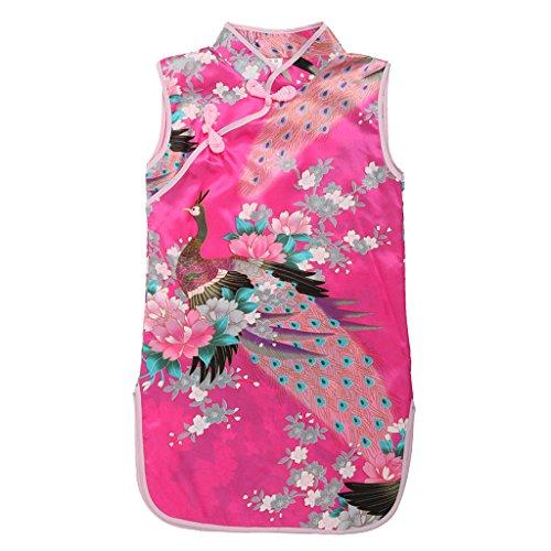 Kinder Mädchen Qipao Cheongsam Geisha Kostüm Partykleider Asia Kinder Qipao - Roserot Knöpf , 6