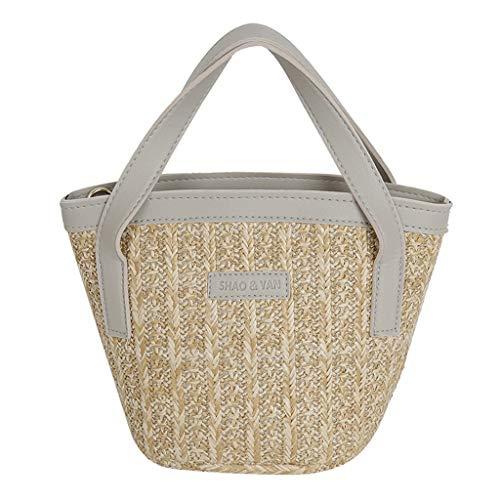 BfmyxgsDamentasche Summer Grass Weave Hand Schultertasche Umhängetasche Wild Girl Bucket Bag